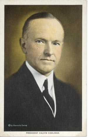 A postcard of Calvin Coolidge
