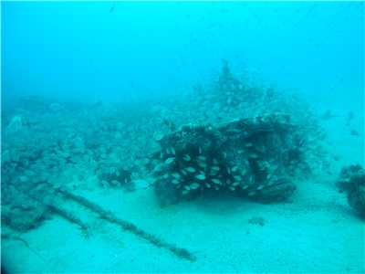 Some of the wreckage at the bow