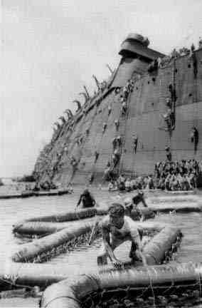 Some of the rubber rafts used to escape